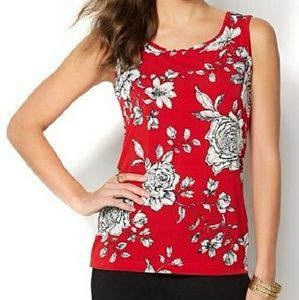 IMAN Red Peony Global Chic Tank